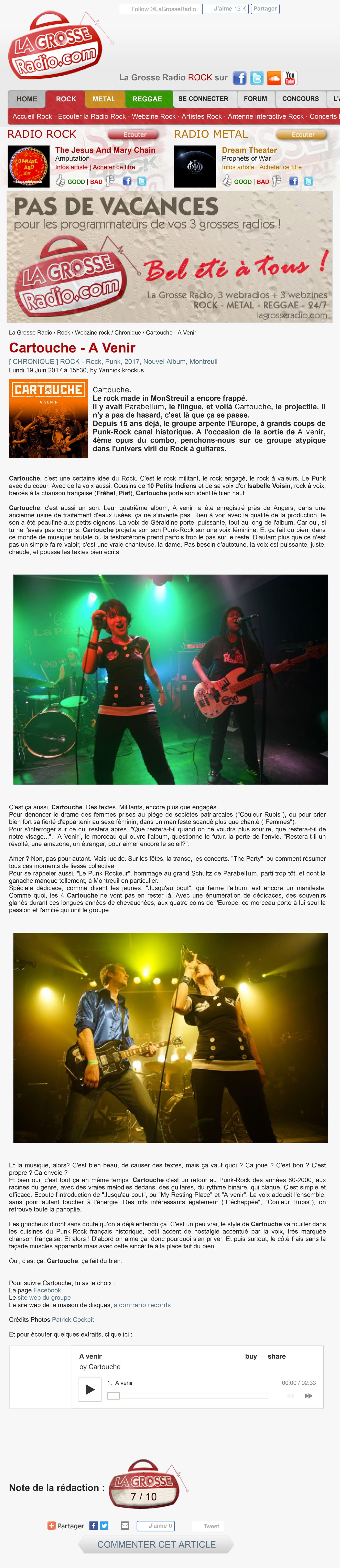 Chronique La Grosse Radio Rock Webzine-Rock